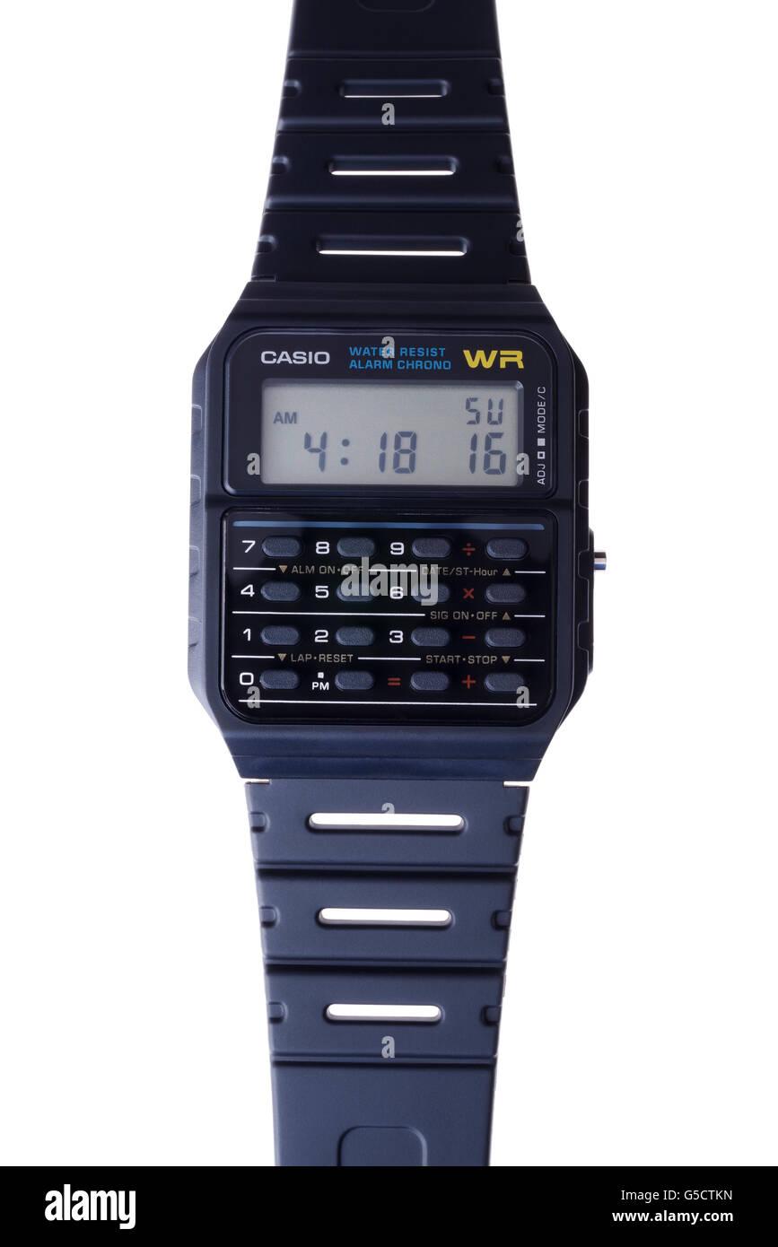 Casio Datenbank Rechnersymbol Uhr CA-53W-1Z 80er Jahre Stockbild