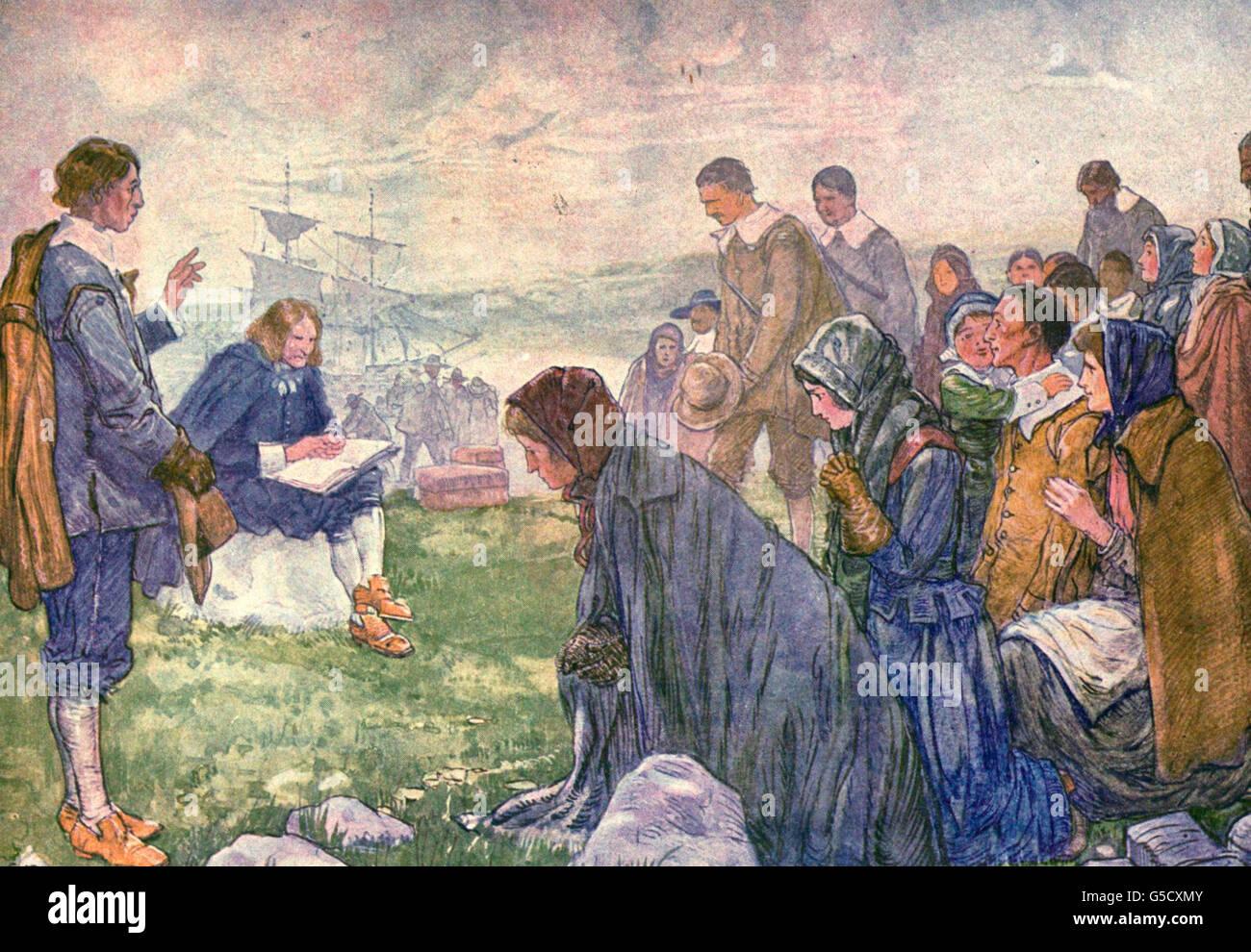 Am 23. Dezember 1620 landete die Pilger bei den Grundstein einer Nation, Plymouth Rock Stockbild