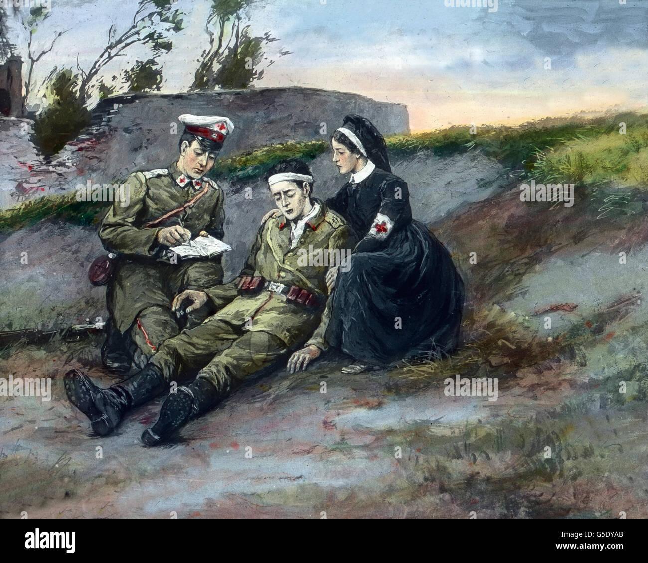 Ein Schwerverwundeter Deutscher Soldat Diktiert Dem Sanitäter Seine ...