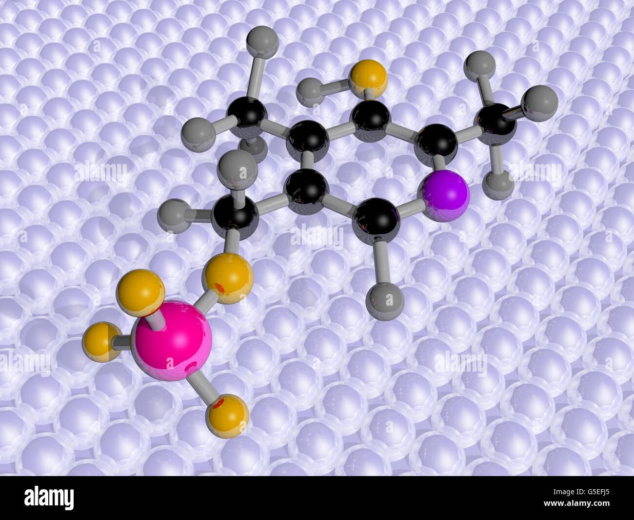 Molekulare Wissenschaft 3D Darstellung von Vitamin B6 Stockbild