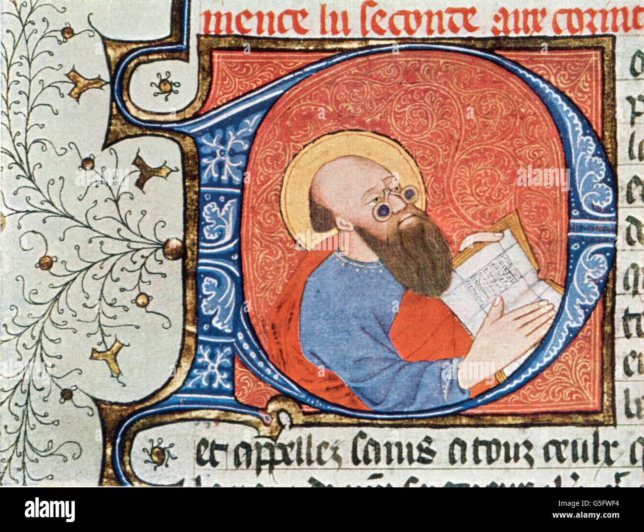 Medizin, Augenheilkunde, Saint mit Brille, erste einer mittelalterlichen Handschrift, Grafik, Grafiken, Mittelalter, Stockbild