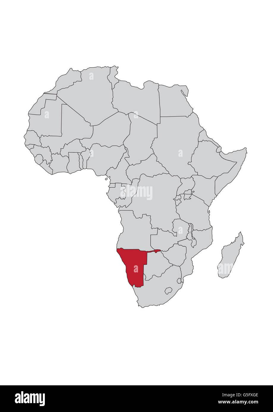 Karte Von Afrika Namibia Stockfoto Bild 106685614 Alamy
