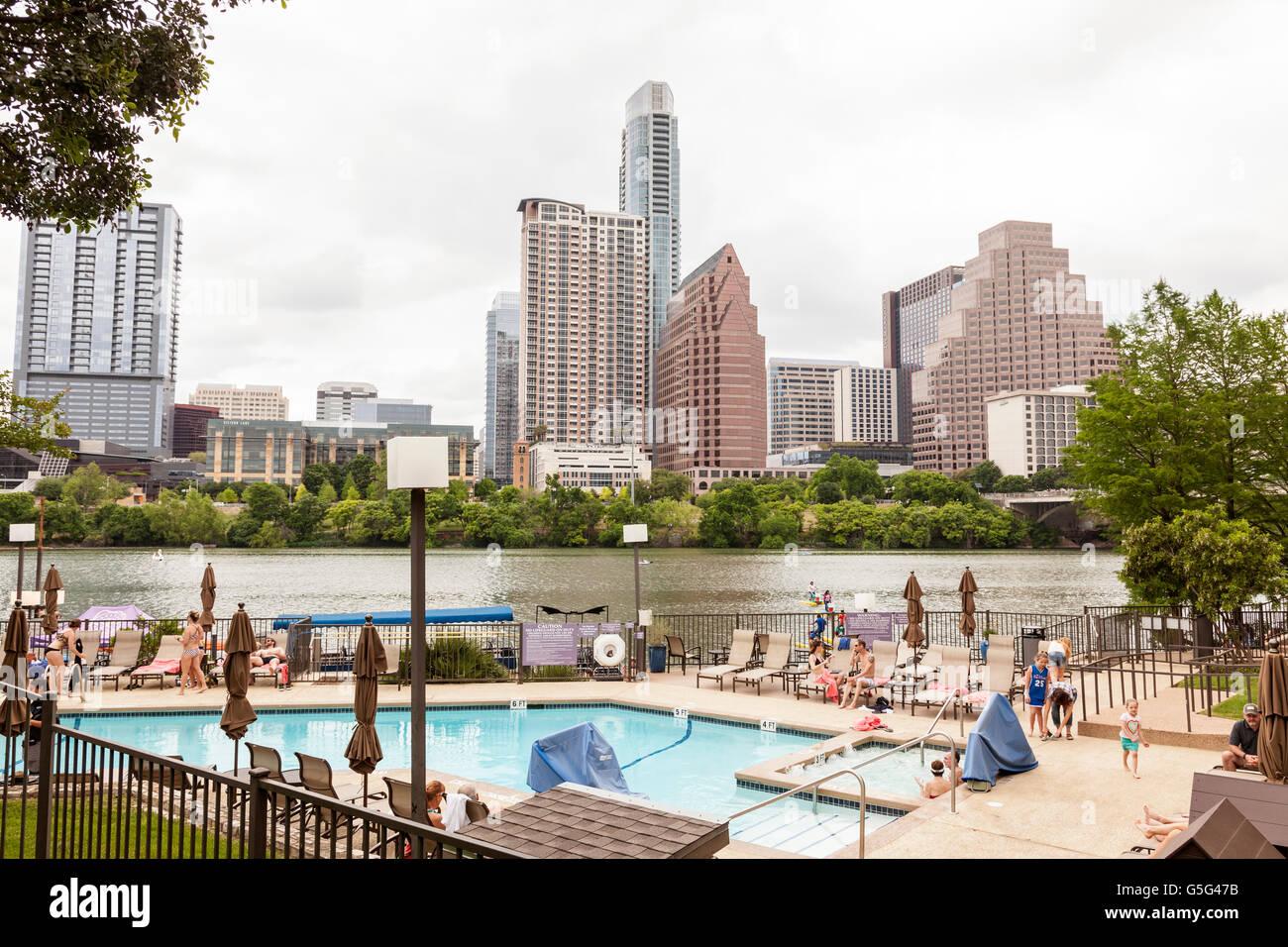 Blick auf Skyline von Austin Downtown Stockbild