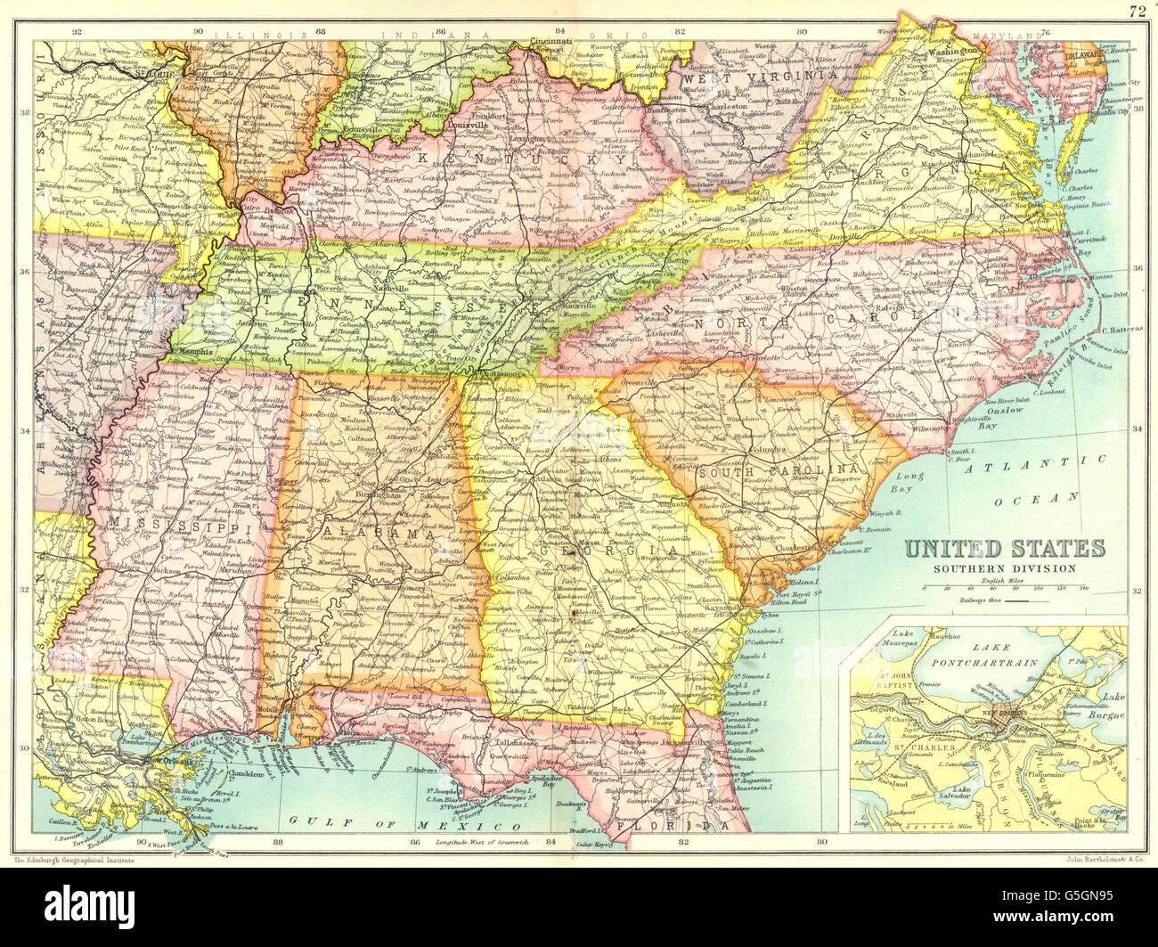Sud Ost Usa Vereinigte Staaten Zeigen Eisenbahnen Inset New