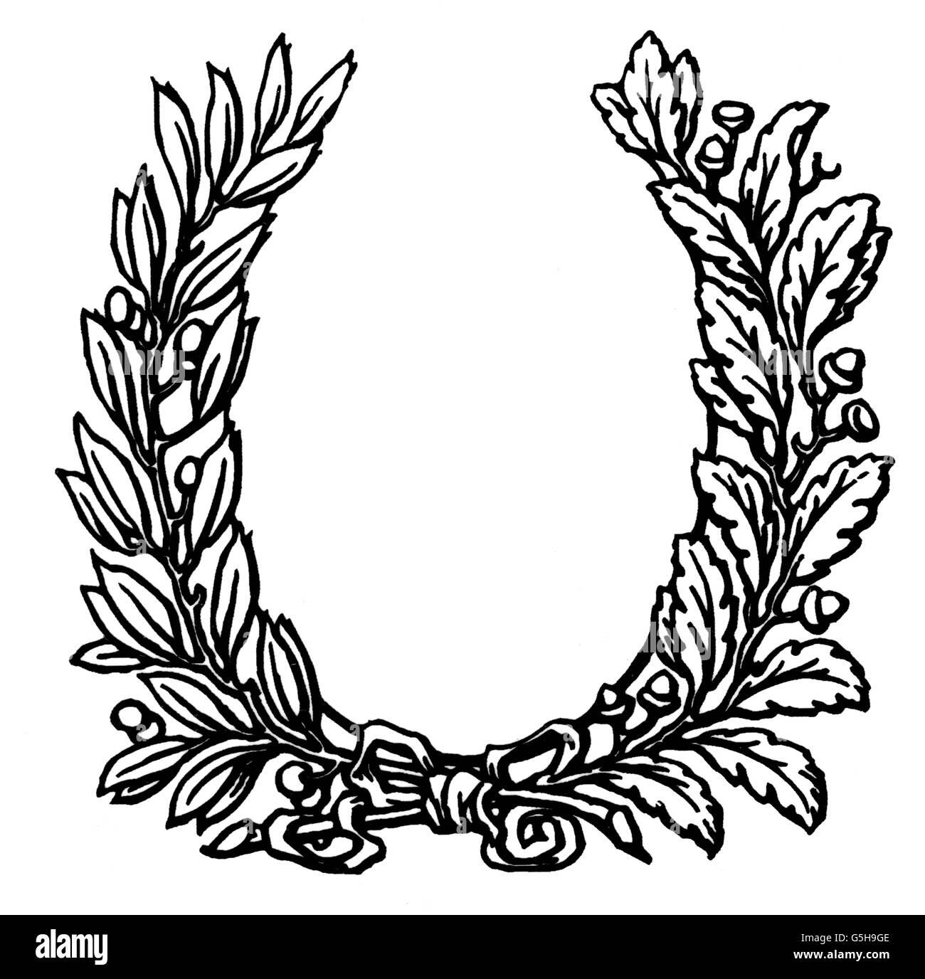 Symbole, Lorbeerkranz, Computergrafik, 90er Jahre, Additional-Rights - Clearences-NA Stockbild