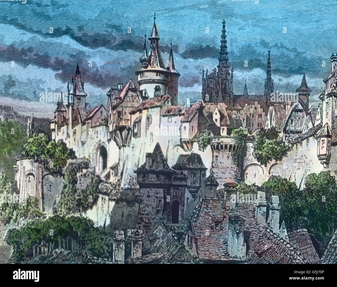 Abbildung Einer Deutschen Stadt Im 15. Halbmonatsschrift. Abbildung einer deutschen Stadt im 15. Jahrhundert. Stockbild