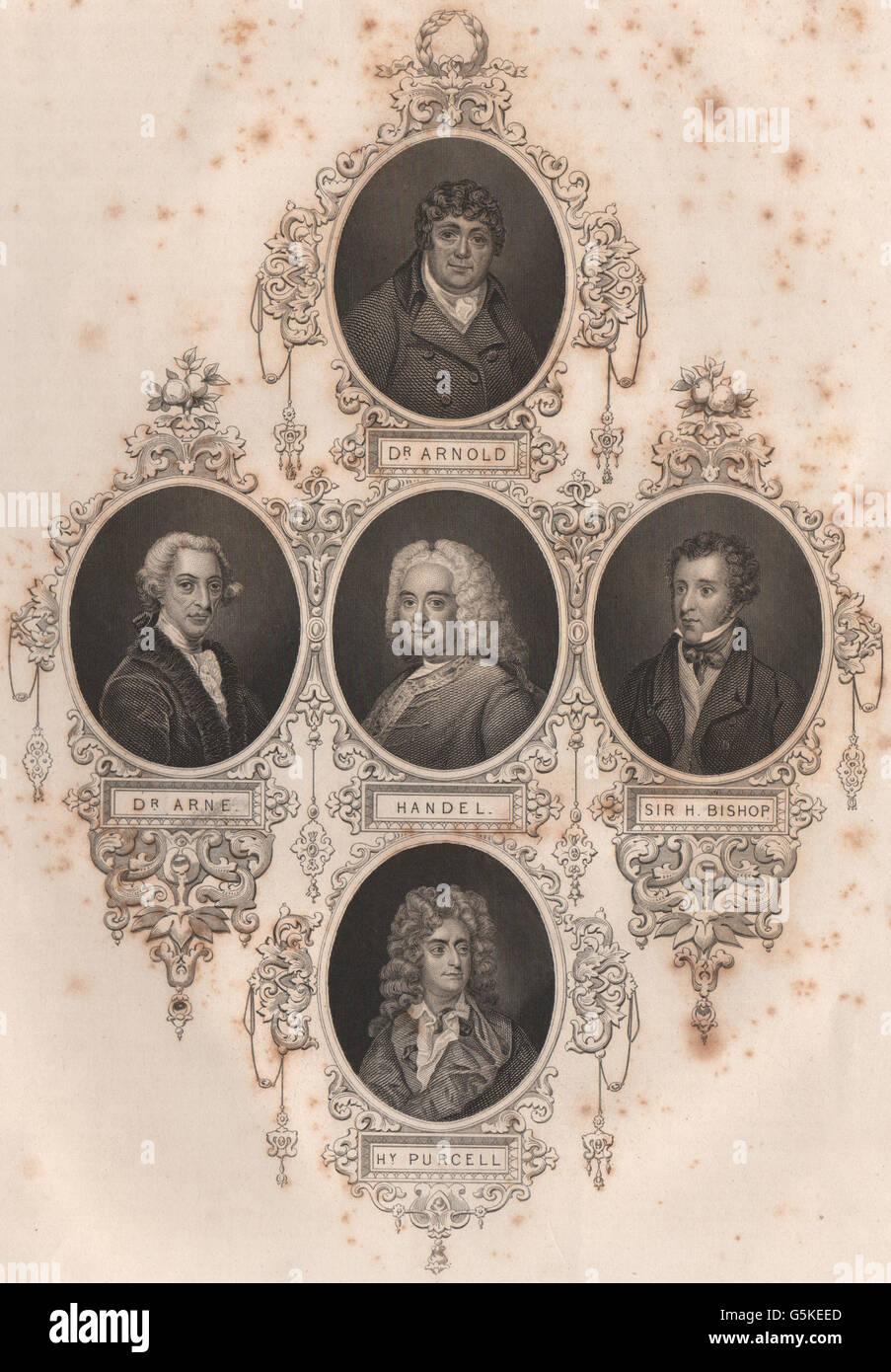 BRITISCHE Geschichte: Dr. Arnold. Anne; Georg Friedrich Händel; Sir. Bischof; Hy. Purcell, 1853 Stockbild