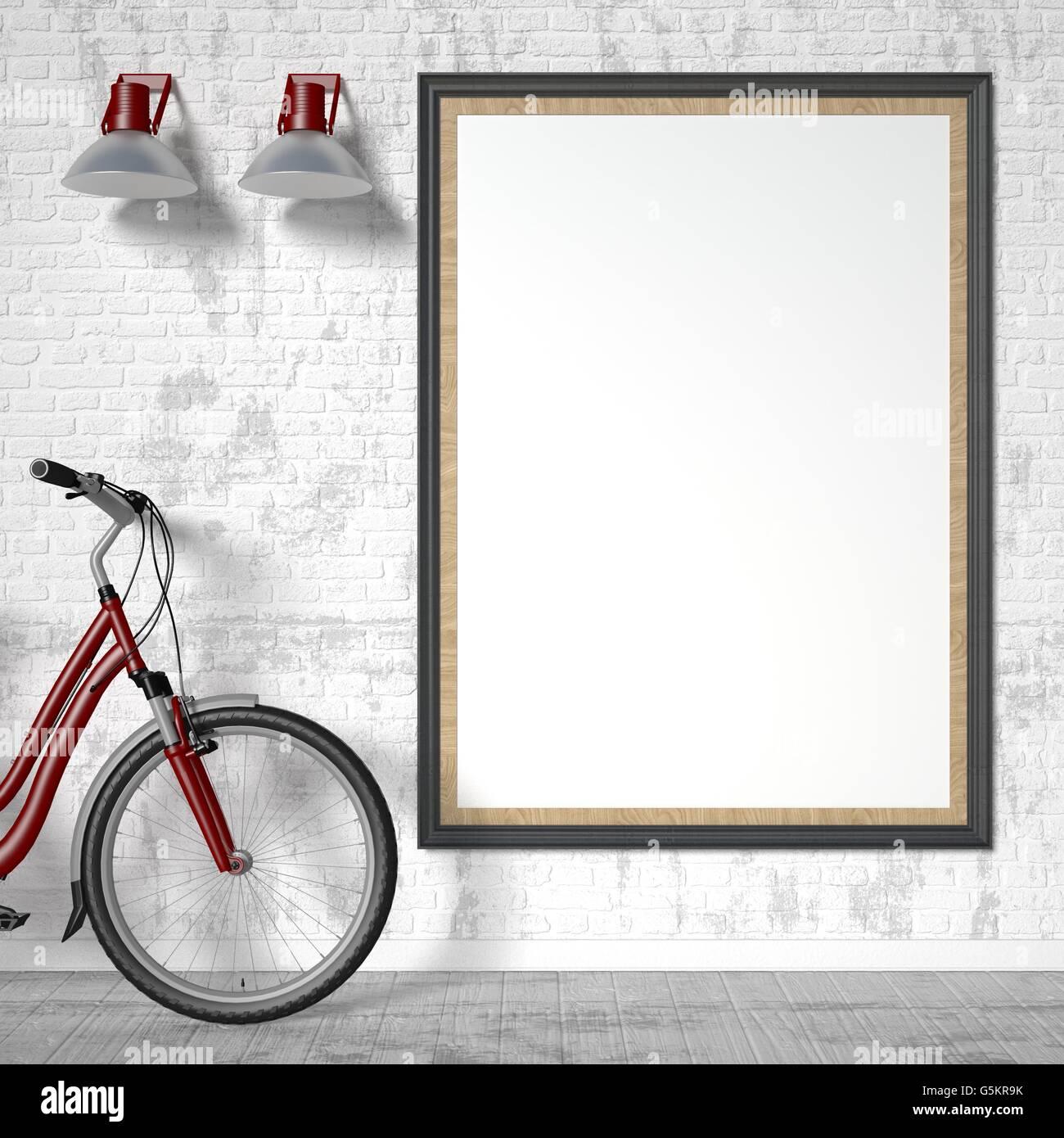 Leere Bilderrahmen mit Fahrrad und Wand Licht. Mock-up Plakat. 3D ...