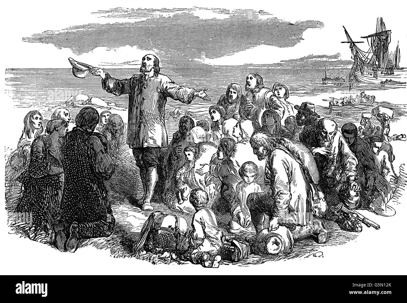 Nonkonformist Puritaner Landung in Amerika nach 1660 nach Charles II nach England zurück zu Monarch verbannt werden... Stockfoto