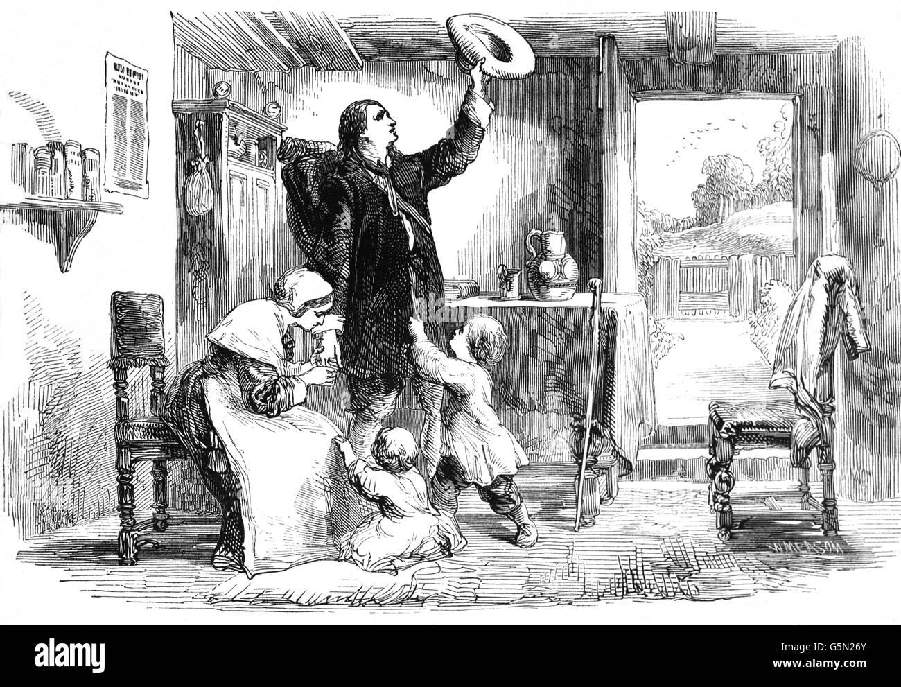 Die Abfahrt nach Salem Insel in Amerika von Roger Williams, ein Puritaner, englischer reformierter Theologe, und Stockfoto