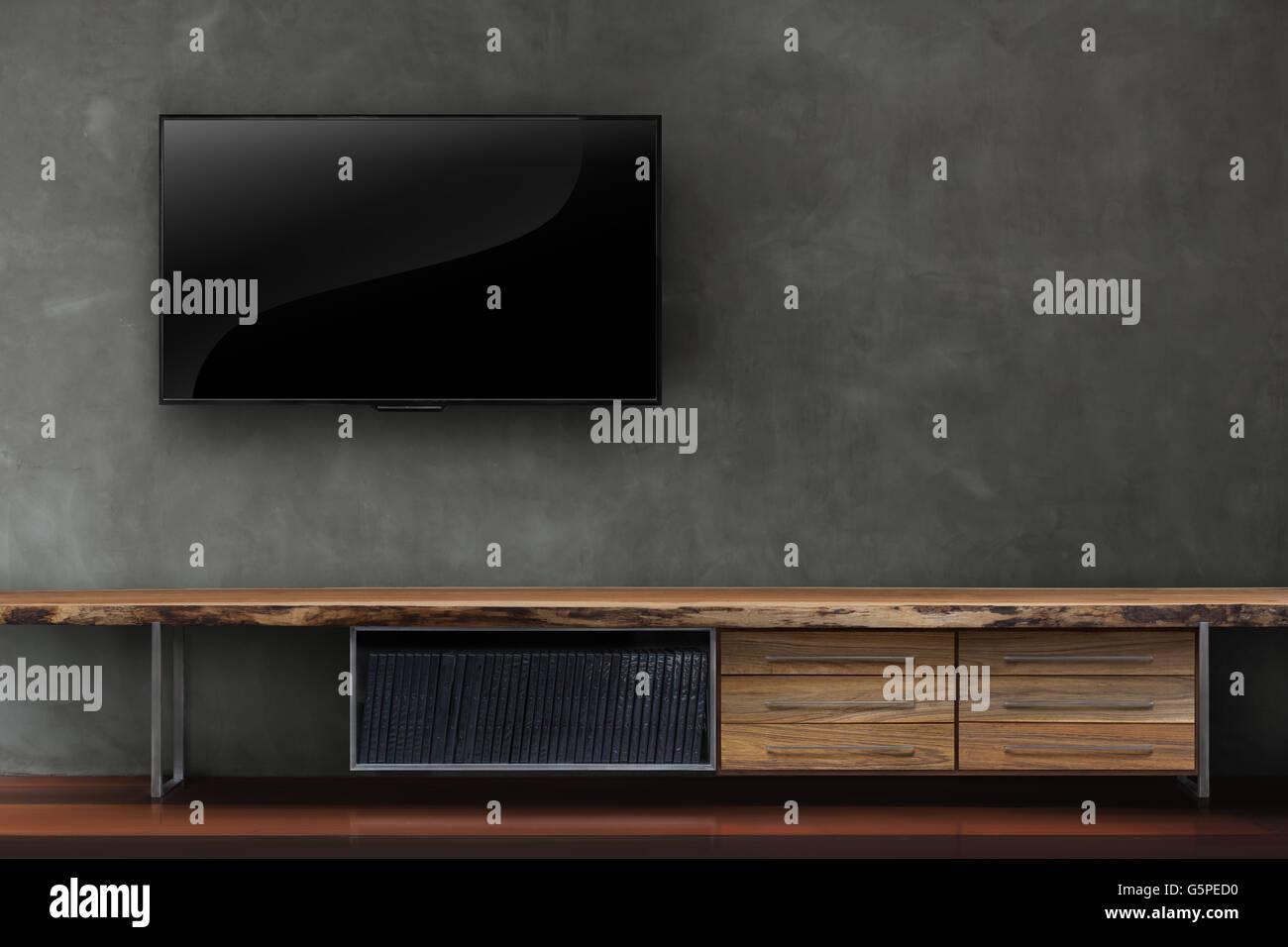 Wohnzimmer led-tv auf Betonwand mit Holztisch Medien Möbel moderne ...