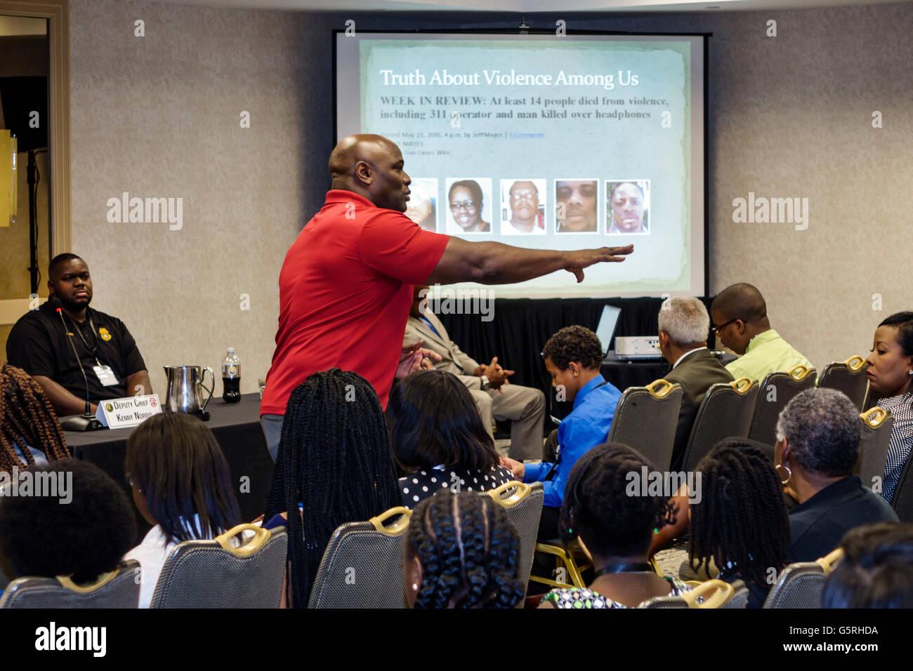 Miami Florida Hyatt Hotel National Verhütung von Kriminalität in der schwarzen Gemeinschaft Konferenz Stockbild