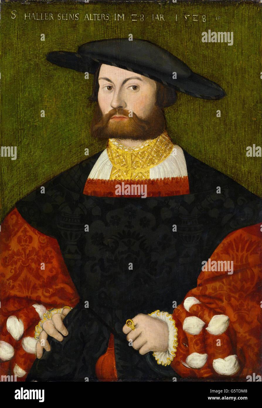 Hans Brosamer - Bildnis des Sebald Haller von Hallerstein (1528) Stockbild