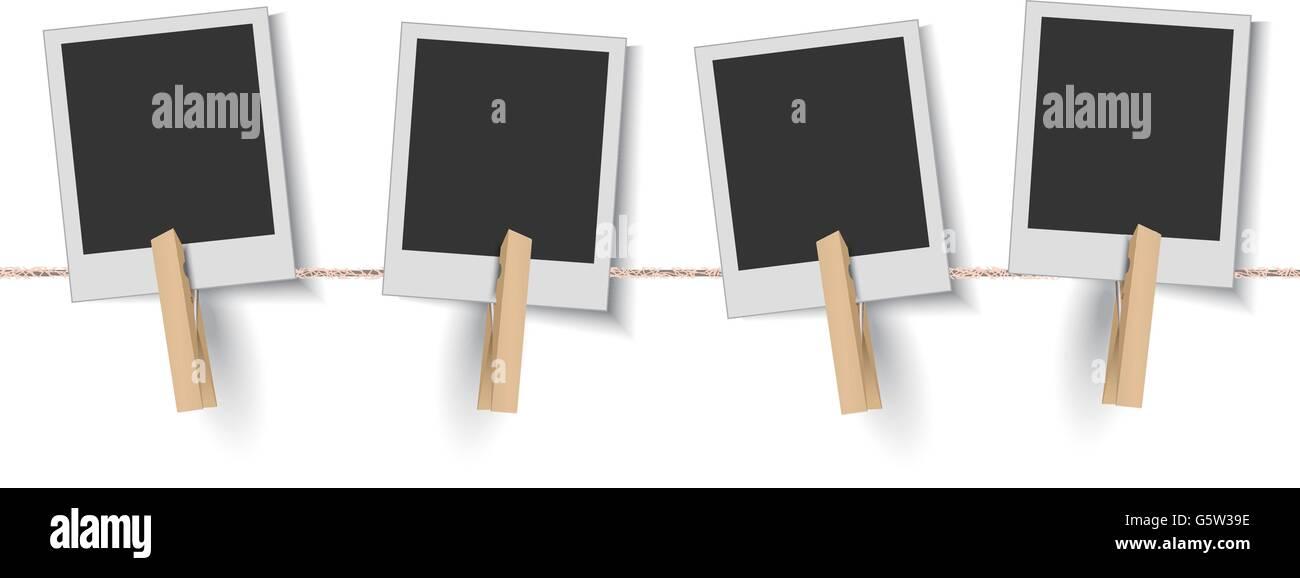 Leere Bilderrahmen aufhängen auf der Wäscheleine Vektor Abbildung ...