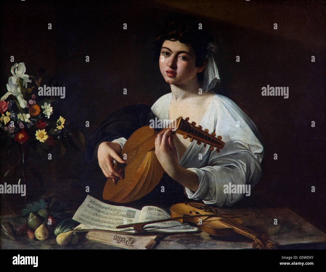 Laute Spieler von Caravaggio, ca. 1595, Staatliche Eremitage, Sankt Petersburg, Russland Stockbild