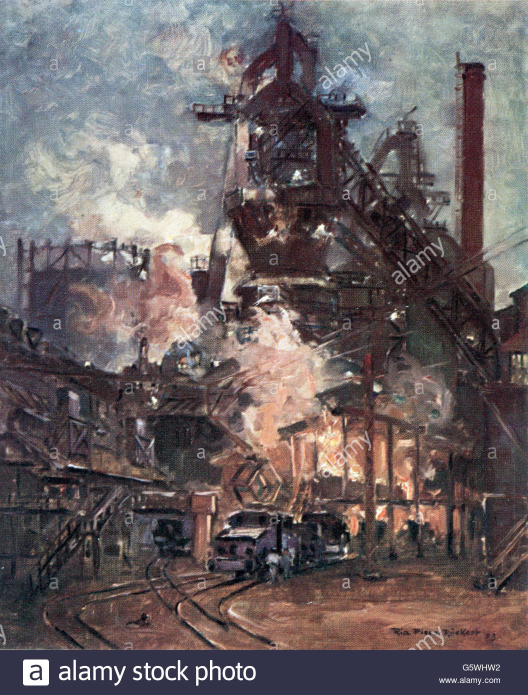 industrie, metall, stahl, gewindebohren am ofen, kunst postkarte