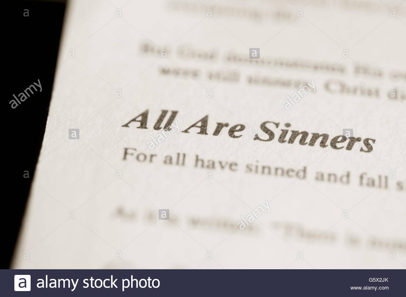 Religiöse Satz auf Buchseite Stockbild