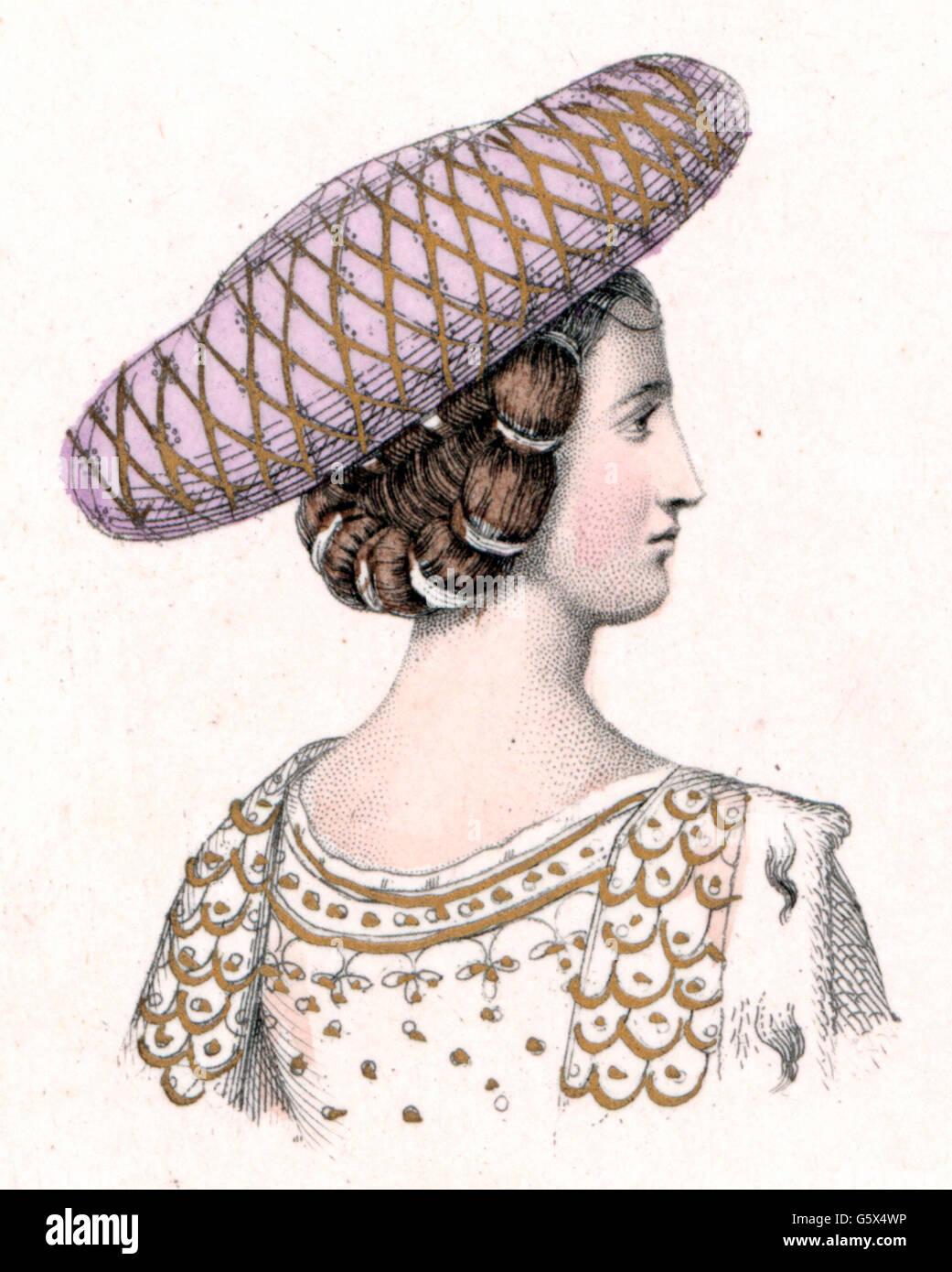 Mittelalter Menschen Frau Mit Hut Italien Ende Des 14