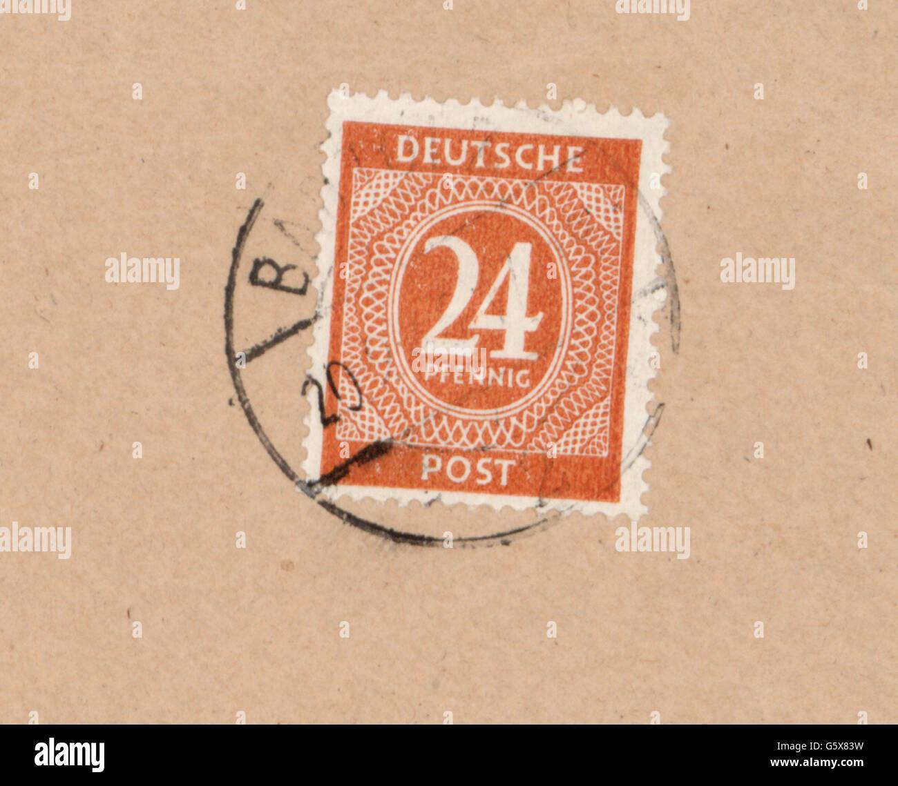 Mail Briefmarken Deutschland 24 Pfennig Briefmarke Deutsche Post