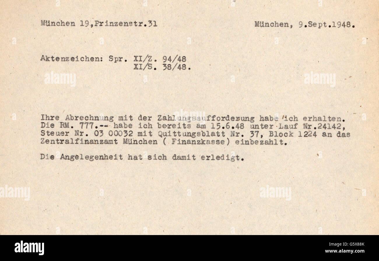 Nachkriegszeit Entnazifizierung Korrespondenz Schreiben Von Hans