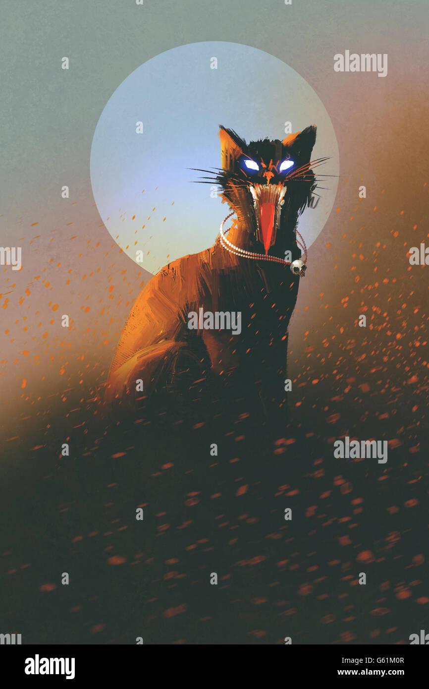 böse Katze auf einem Hintergrund von Mond, Untote, Horror Konzept, illustration Stockbild