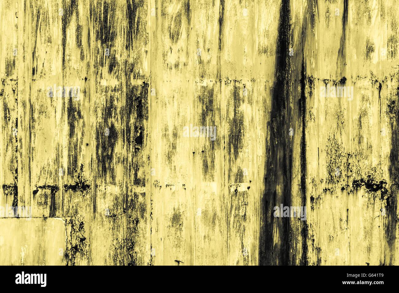 Grobe gelbe gelbliche industriellen Stil Oberfläche Hintergrund Metall Bügelbrett mit Rost und schwere Stockbild