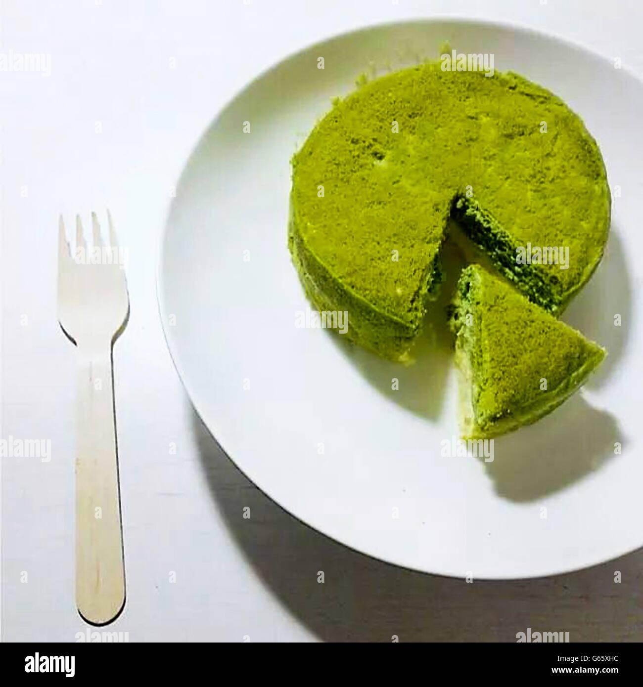 Japanische Matcha Gruntee Kuchen Stock Bild Stockfoto Bild