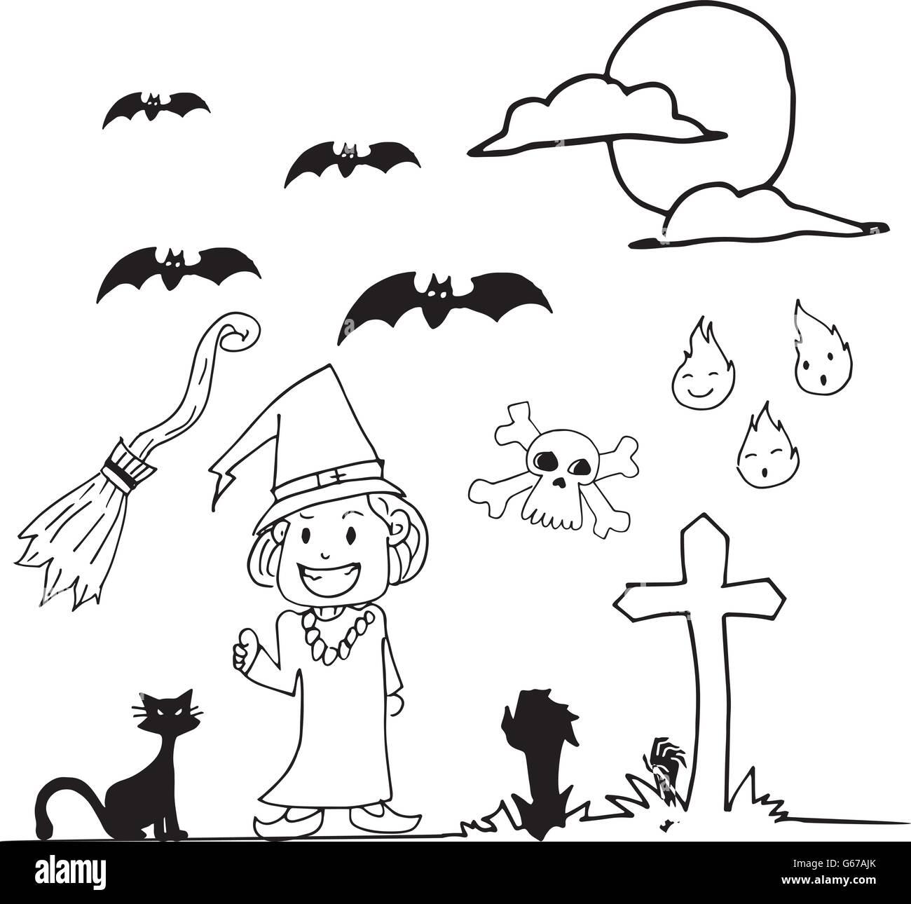 Halloween Hexe Hand Zeichnen Doodle Vektor Abbildung Bild