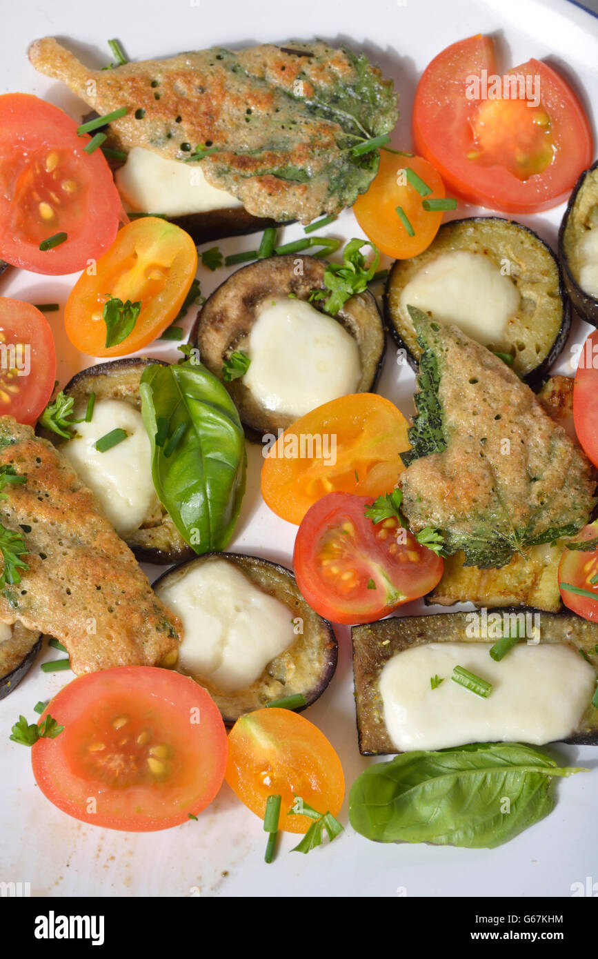 Platte mit Tomaten, Auberginen, gebackene Brennnesselblätter Stockbild