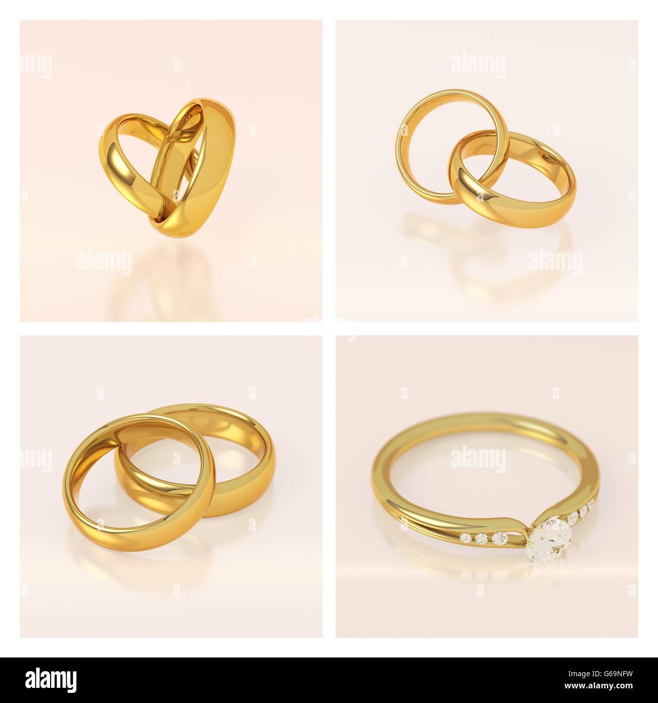 Goldene Hochzeit Ringe Gesetzt Zwei Ringe Verbunden In Form Eines