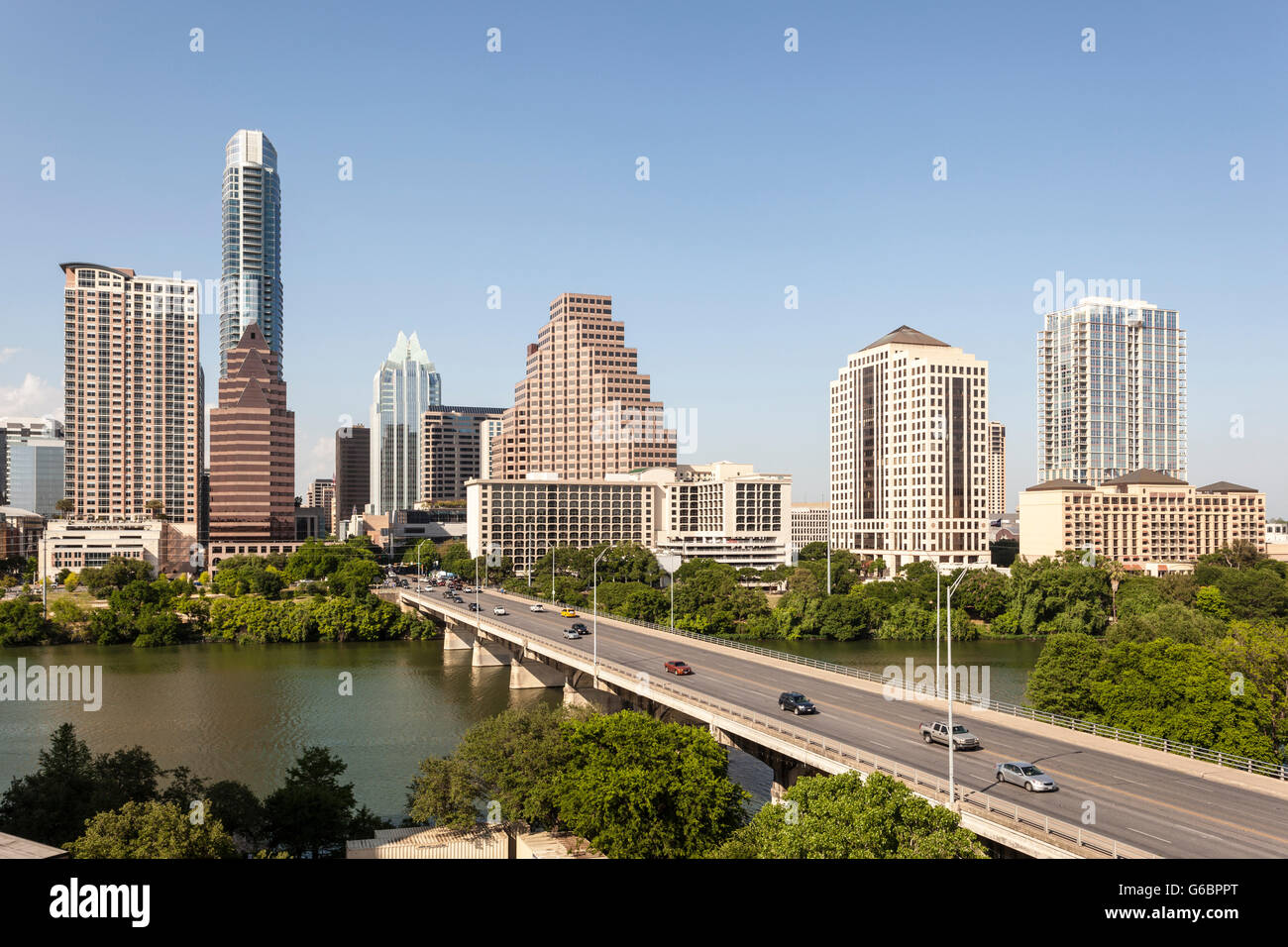 Downtown Skyline von Austin, Texas Stockbild