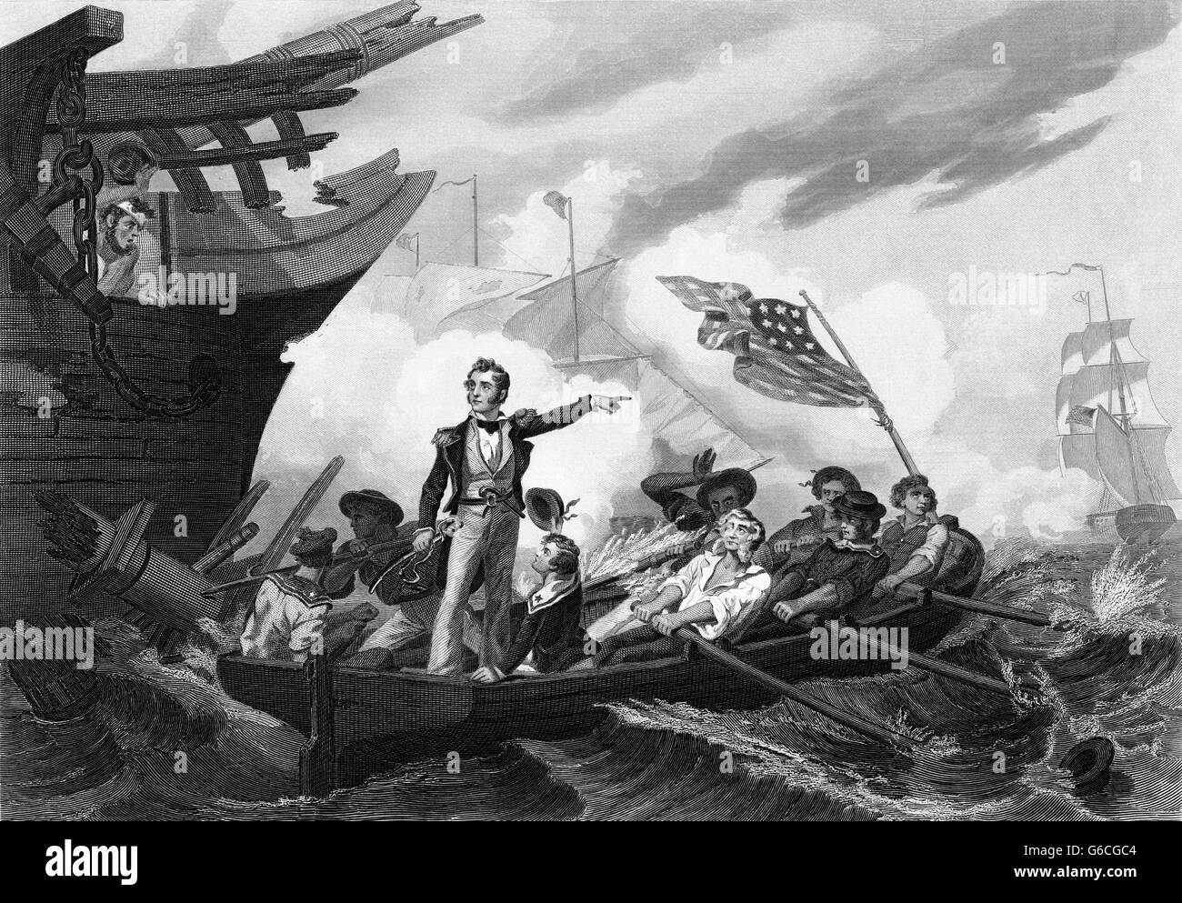 SEPTEMBER 1813 MASTER KOMMANDANT OLIVER HAZARD PERRY ÜBERTRAGUNG VON USS LAWRENCE AUF USS NIAGARA SCHLACHT Stockbild