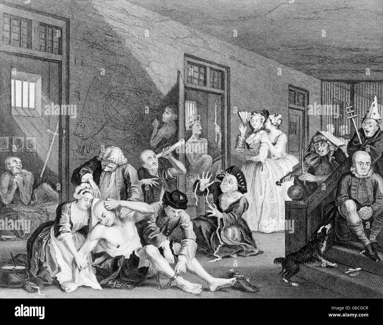 1730ER JAHRE IRRENHAUS 18. JAHRHUNDERT BEDLAM IRRENANSTALT AUS EINEM GEMÄLDE VON WILLIAM HOGARTH CA. 1735 Stockbild