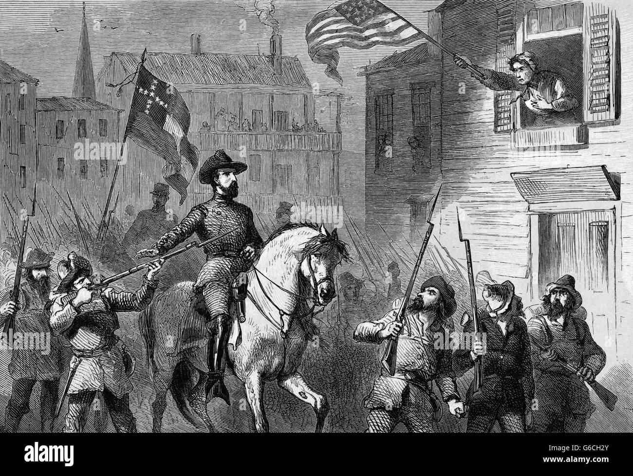 1860ER JAHRE BARBARA FRIETCHIE ALTER VON 90 JAHREN WINKT UNION FEDERAL FLAG AS KONFÖDERIERTEN TRUPPEN UNTER Stockbild