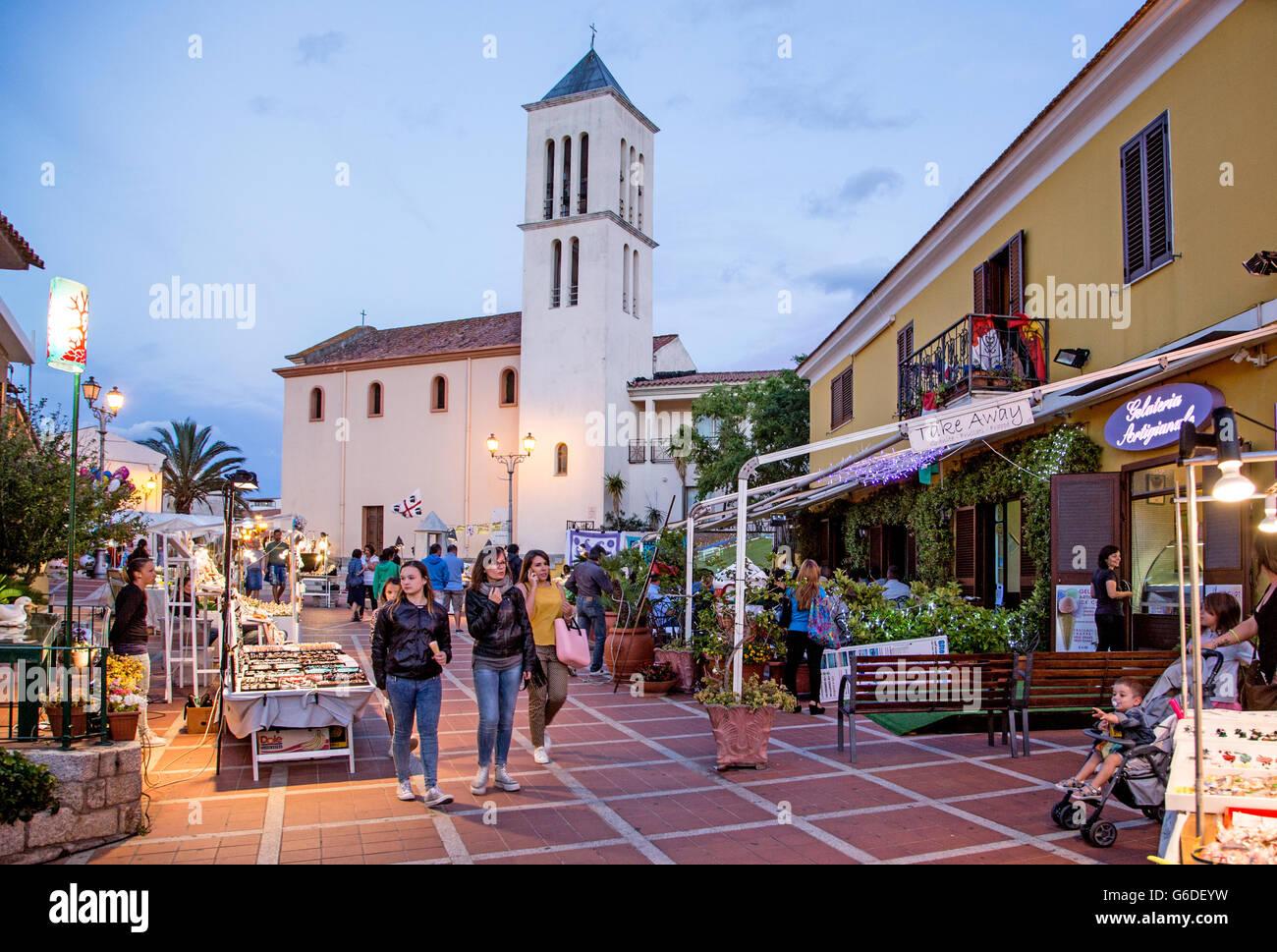 San Teodoro bei Nacht Sardinien Italien Stockbild