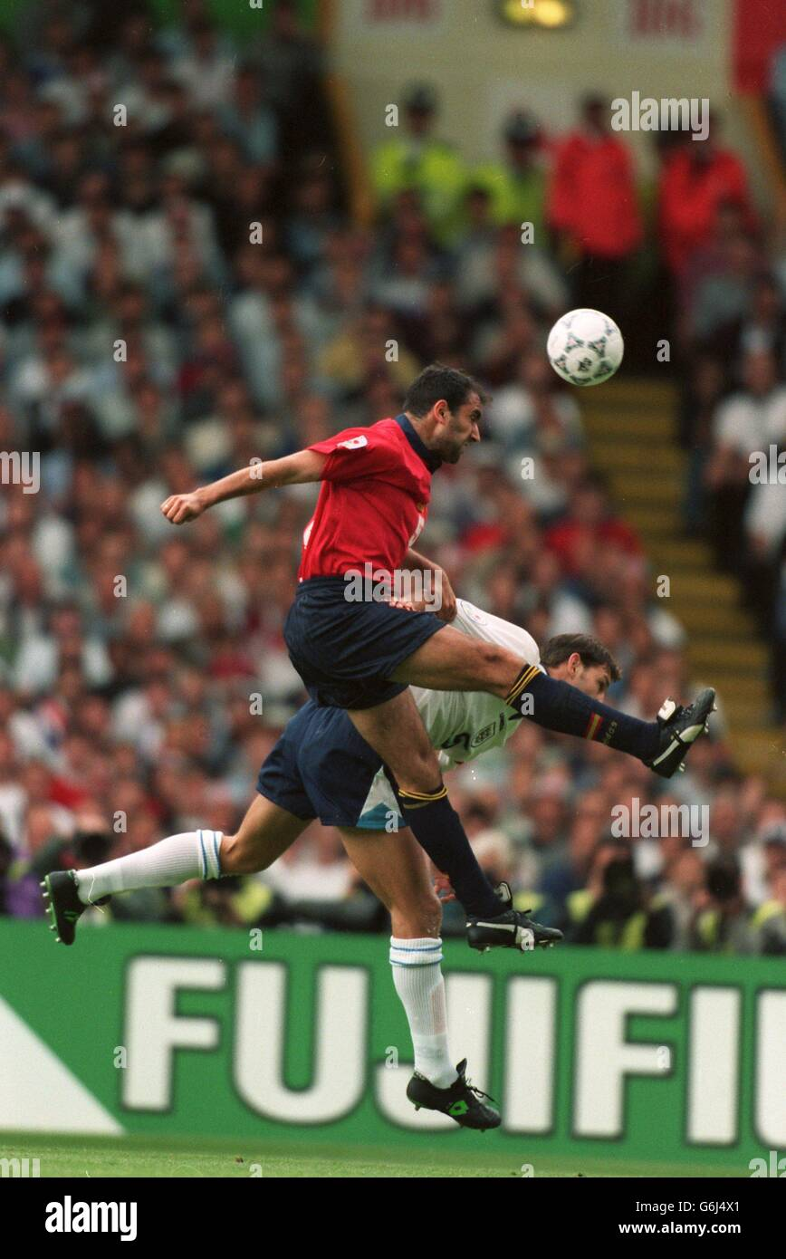 Fußball - Euro 96 - England / Spanien, Wembley Stockfoto