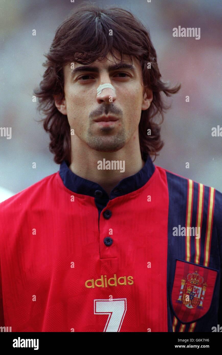 Fußball. 96 Euro. Rumänien / Spanien. Jose Emilio Amavisca, Spanien Stockfoto