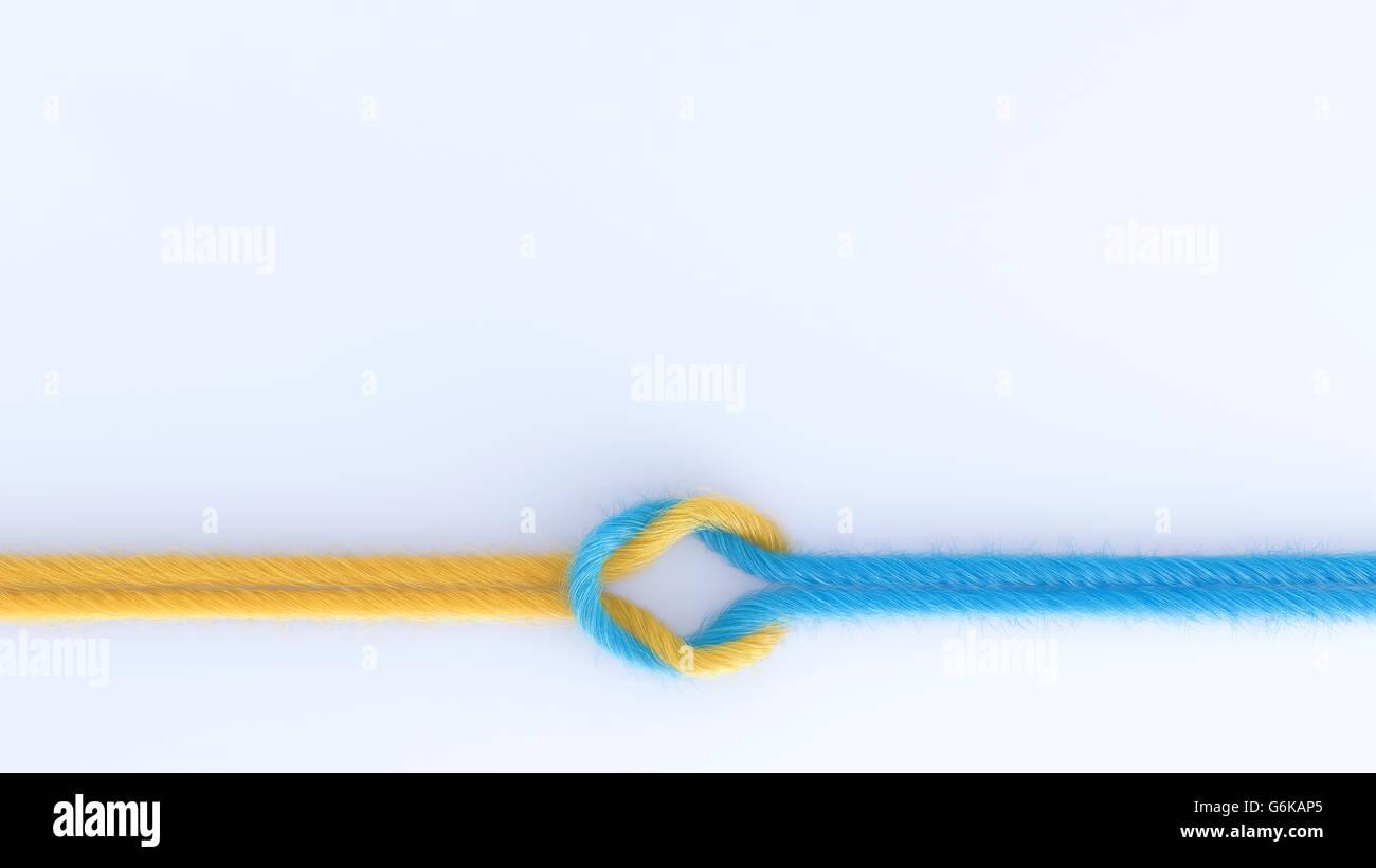 Verbindung von zwei Threads, 3D Rendering Stockbild