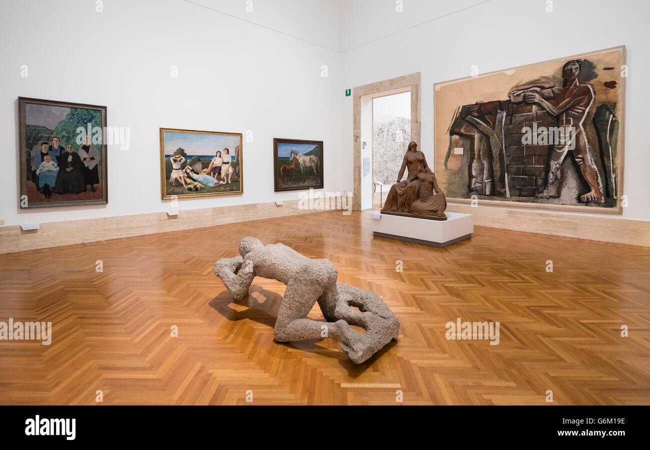Galerie im Inneren der Nationalgalerie für moderne und zeitgenössische Kunst, Rom, Italien Stockbild