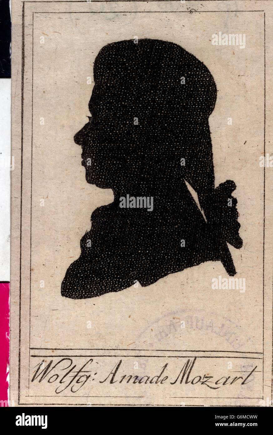 Silhouette Wolfgang Amadeus Mozarts Stockbild