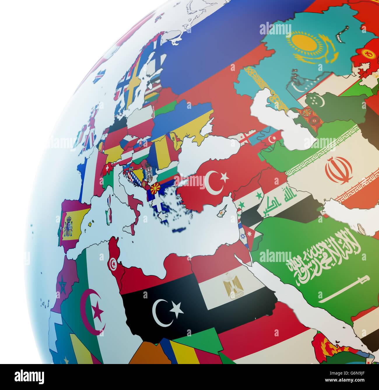 3D-Globus mit Nationalflaggen Stockfoto