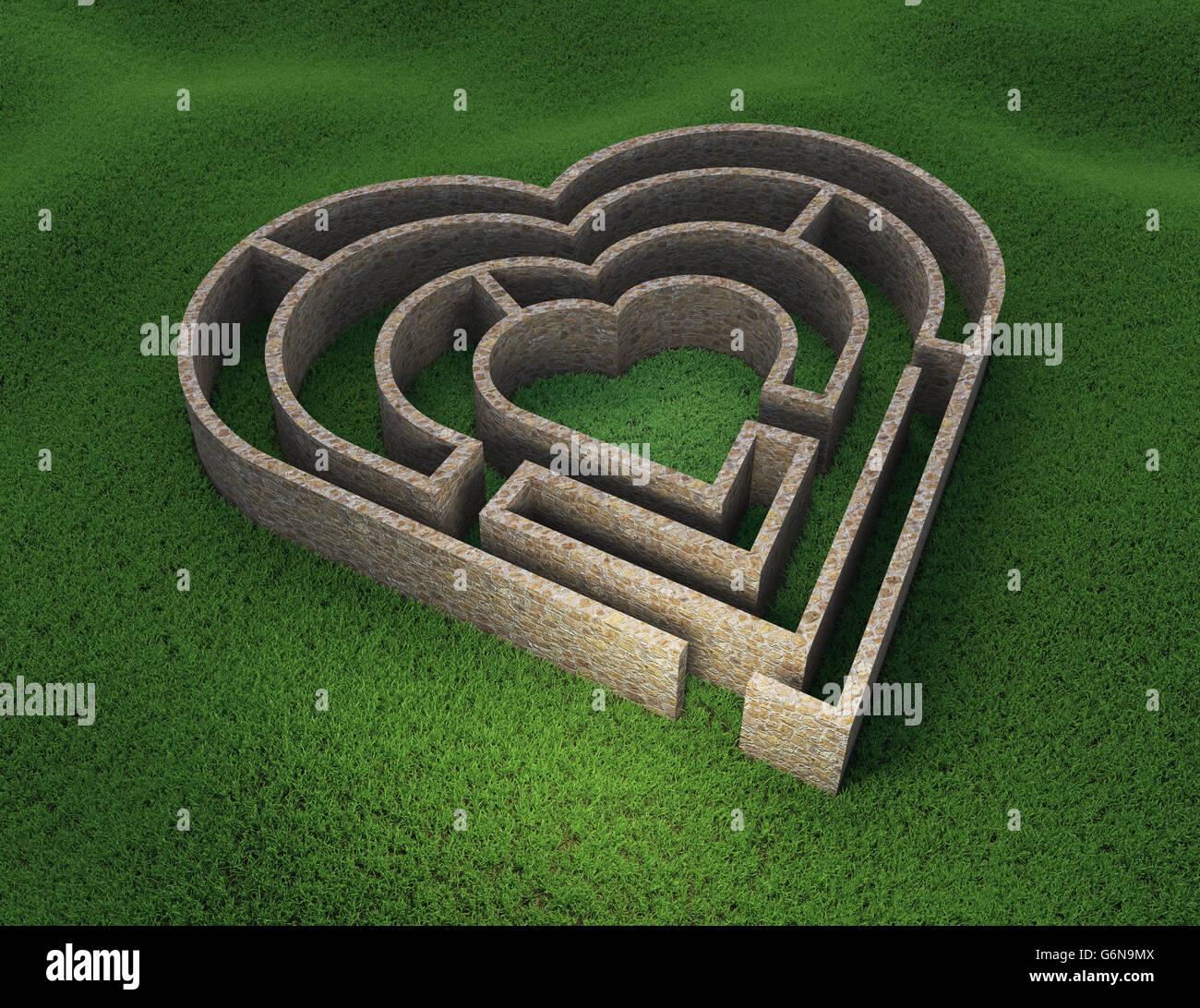 Herzförmige Labyrinth - Liebe und Beziehung Konzept 3D Illustration Stockfoto
