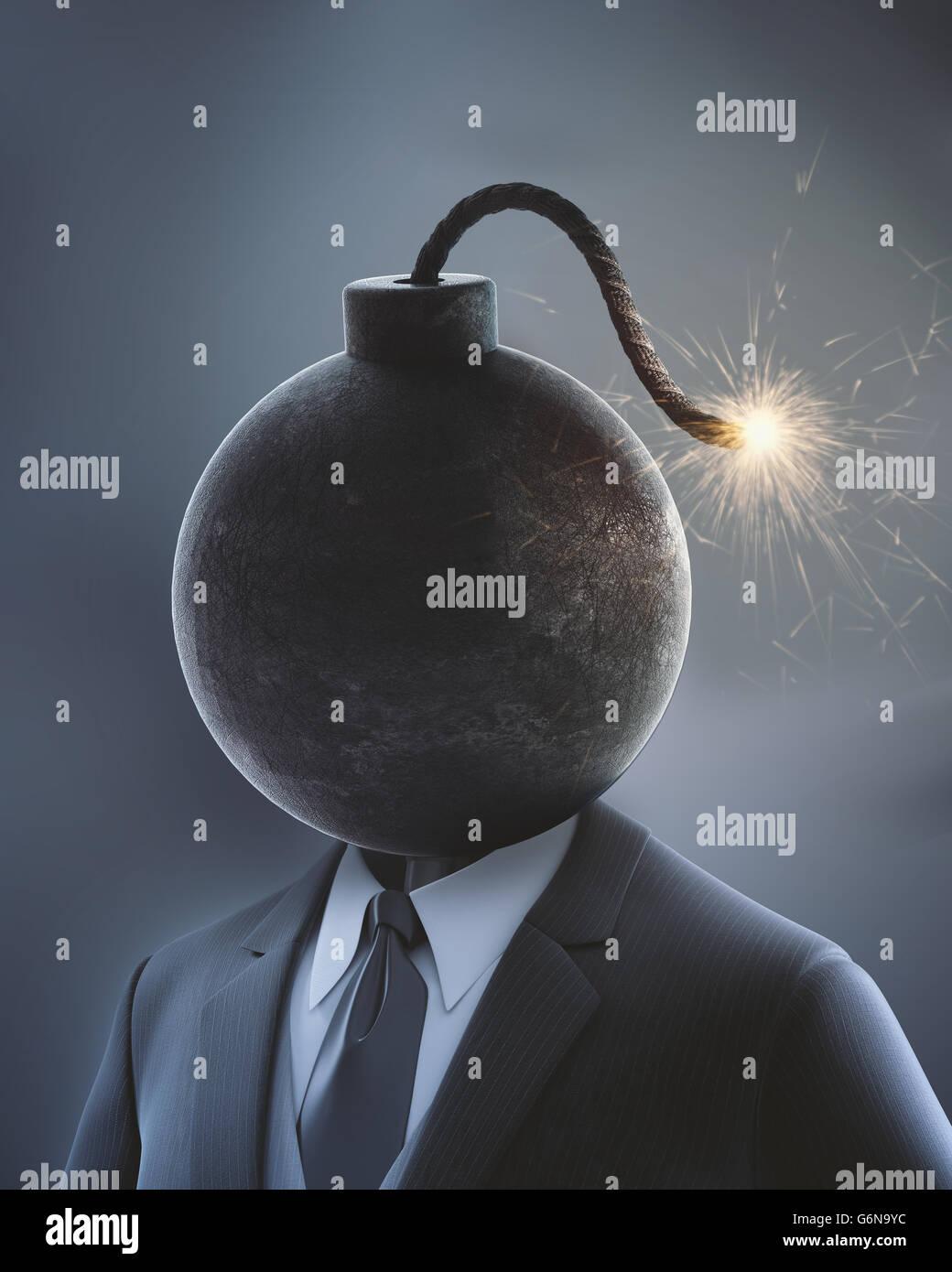 Geschäftsmann mit einer Bombe anstelle seines Kopfes mit einer beleuchteten Sicherung - 3D-Illustration Stockbild