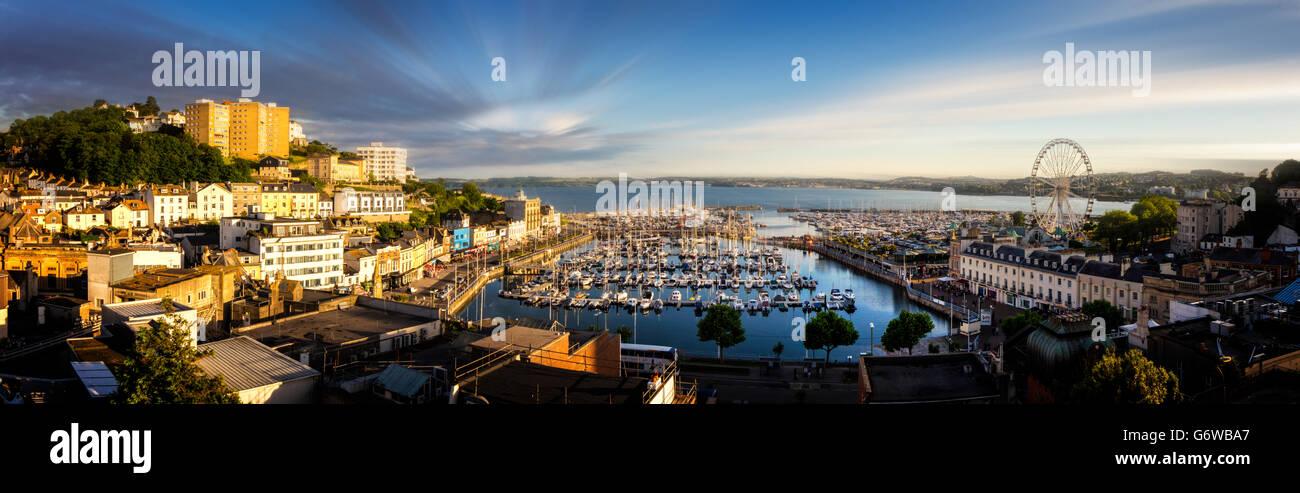 GB - DEVON: Torquay Hafen-Panorama Stockbild