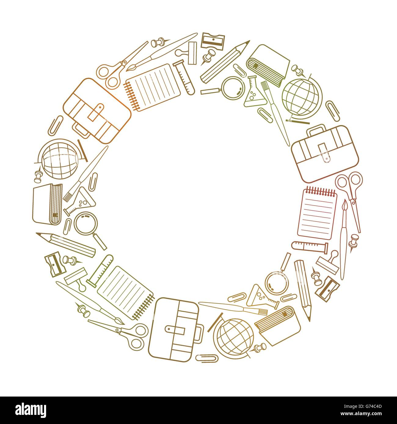 Vektor Rahmen Schule Versorgung-Icons auf faltige Papier Vektor ...