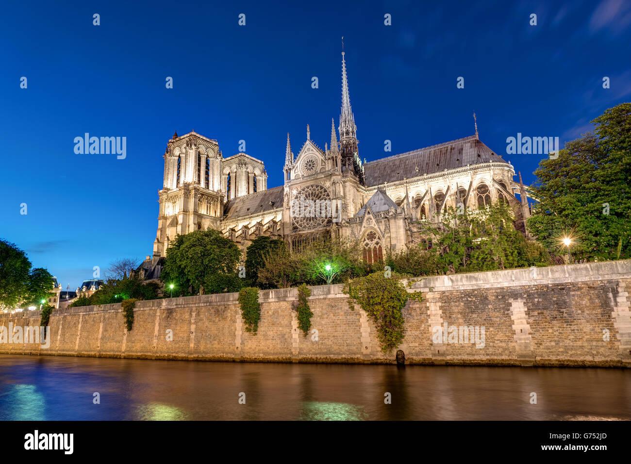 Notre-Dame und der Seine in Paris bei Nacht Stockbild