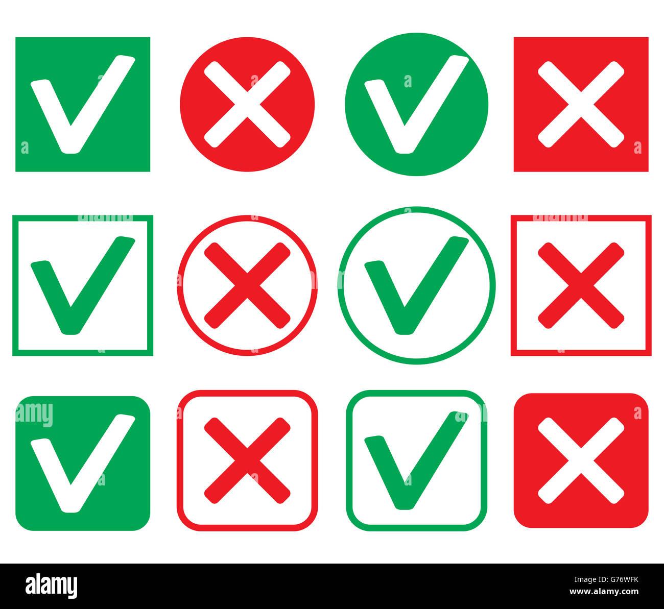 Satz von Symbol Zustimmung und Ablehnung. OK Symbol Mark Abbildung ...