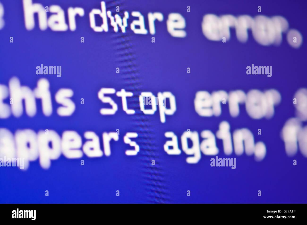 Computerfehler stürzt ab Bluescreen Stockbild