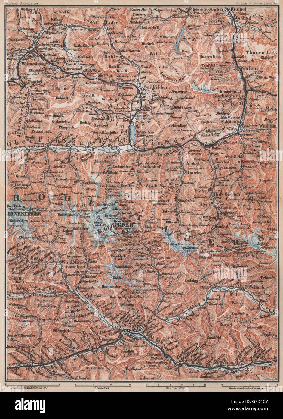 Großglockner Karte.Hohe Tauern Kitzbühel Bad Gastein Lienz Berchtesgaden Großglockner