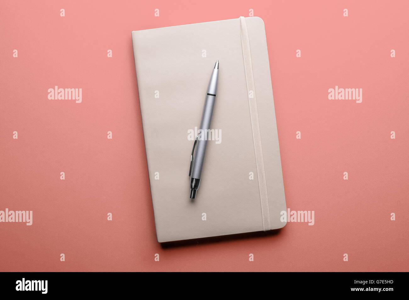 Draufsicht der alten offenes Buch mit Füllfederhalter auf rosa Hintergrund Stockfoto
